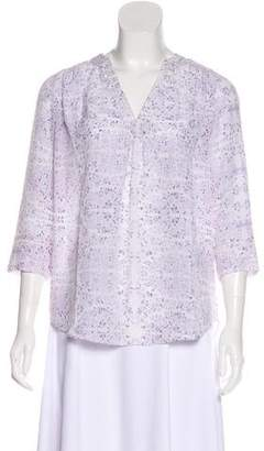 Rebecca Taylor Printed Long Sleeve Blouse