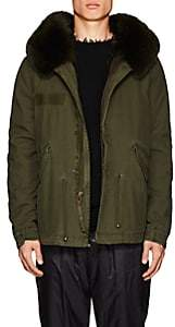 Mr & Mrs Italy Men's Fur-Lined Cotton-Canvas Mini Parka - Olive