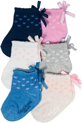 Osh Kosh Oshkosh Bgosh Baby / Toddler Girl 6-pack Heart & Bow Quarter Crew Socks