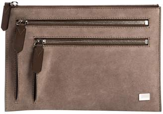 Lancel Grey Suede Clutch Bag
