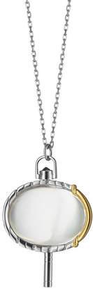 Monica Rich Kosann Silver & 18k Yellow Gold Pinstripe Pocket Watch Key Pendant Necklace, 36