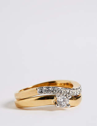 M&S Collection Gold Plated Wedding Band Duo Rings