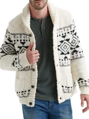 Lucky Brand Faux Shearling-Lined Sawtooth Sweater