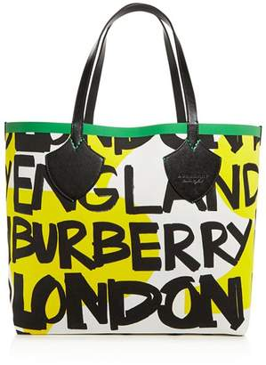 "Burberry The Giant"" Medium Graffiti Logo Print Tote"