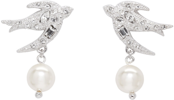 Miu Miu Miu Miu Silver Swallow Crystal Earrings