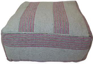 One Kings Lane Moroccan Striped Pouf - Gray/Pink