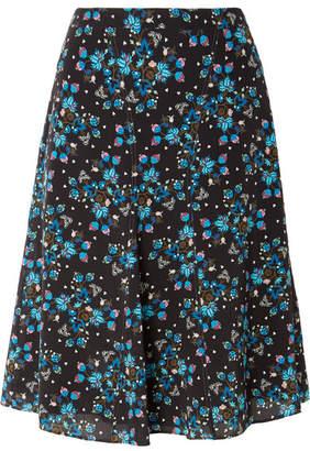 Altuzarra Caroline Floral-print Silk Crepe De Chine Skirt - Black