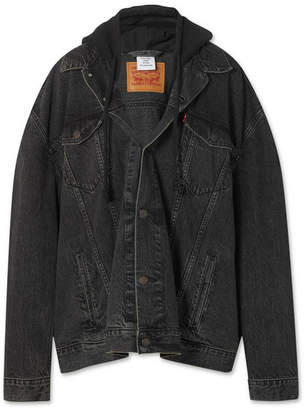 Vetements Levi's Oversized Distressed Hooded Denim Jacket - Black
