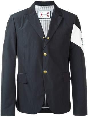 Moncler Gamme Bleu contrast diagonal stripe blazer