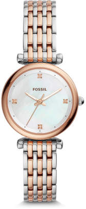 Fossil Carlie Mini Three-Hand Two-Tone Stainless Steel Watch