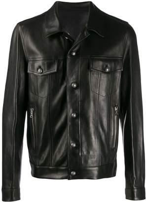 Balmain signature logo leather jacket