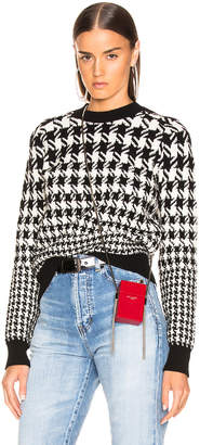 Saint Laurent Mixed Houndstooth Jacquard Sweater