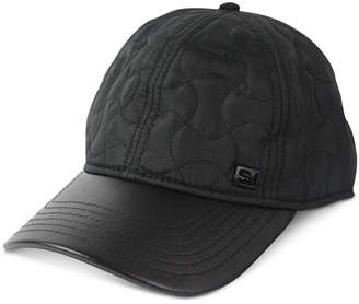 Sean John Men's Faux Leather Quilted Adjustable Baseball Cap