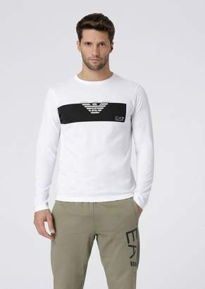 Emporio Armani Ea7 Long-Sleeve T-Shirt With Printed Logo