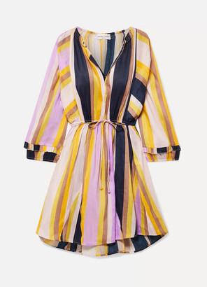 Apiece Apart La Flutte Striped Linen And Silk-blend Mini Dress - Yellow