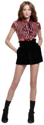 Alice + Olivia Laurine Velvet Paper Bag Shorts