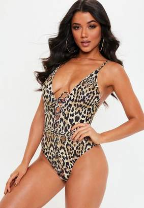 60781f472f Missguided brown leopard print plunge high leg swimsuit