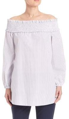 Tibi Samuel Stripe Shirting Off-the-Shoulder Top