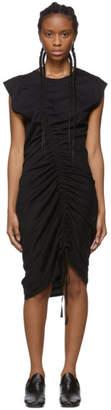 Raquel Allegra Black Sueded Baby Jersey Gathered Dress