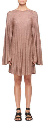 Chloé Bell-Sleeves Lurex® Pleated Mini Dress