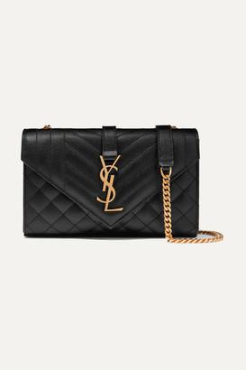 Saint Laurent Envelope Small Quilted Textured-leather Shoulder Bag - Black