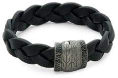 John Hardy Black Sapphire, Sterling Silver and Leather Classic Chain Bracelet