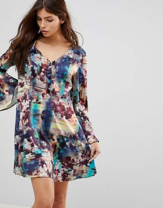 Lavand Abstract Floral Skater Dress With Fluted Sleeve