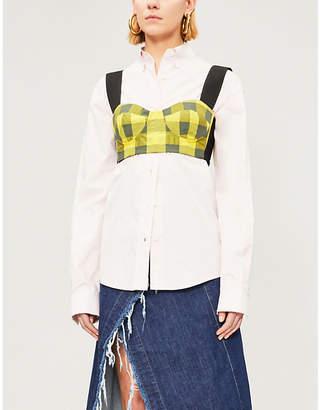 Natasha Zinko Checked sweetheart-neckline woven crop top