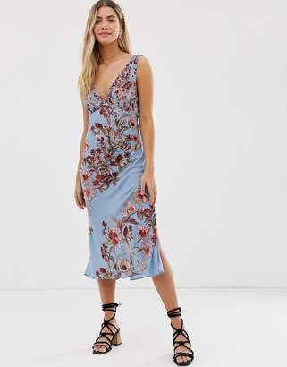 Free People Never Too Late floral midi dress