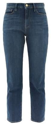 Frame Le Sylvie Straight Leg Cropped Jeans - Womens - Dark Blue