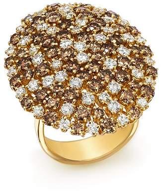 Roberto Coin 18K Yellow Gold Brown & White Diamond Cluster Ring