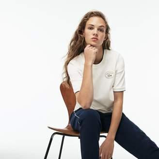 Lacoste Women's Crew Neck Piped Pima Cotton Interlock T-shirt