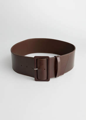 Wide Rectangle Buckle Leather Belt