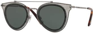 Valentino Metal Mesh Aviator Sunglasses