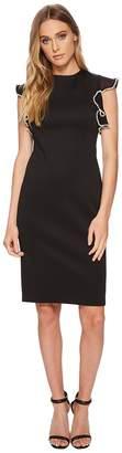 Calvin Klein Scuba Sheath with Chiffon Sleeve with Pearl Trim CD8M16JT Women's Dress