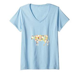 Womens Cute Flower Print Pattern Cow Mom Cowgirl Cow Lover V-Neck T-Shirt