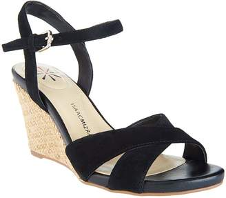 Isaac Mizrahi Live! Leather & Suede Crossover Strap Wedge Sandals