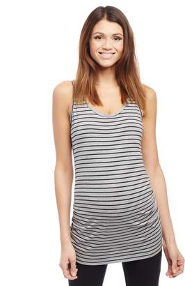Motherhood Maternity Side Ruched Scoop Neck Maternity Tank Top- Solid