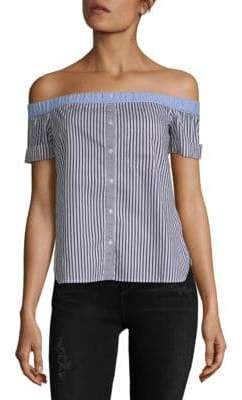 Bailey 44 False Start Off-The-Shoulder Striped Blouse