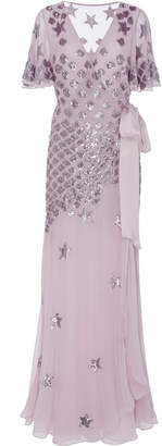 Temperley London Starlet Embellished Chiffon Wrap Gown