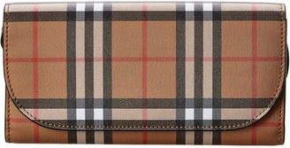 Burberry Vintage Check Leather Wallet On Strap