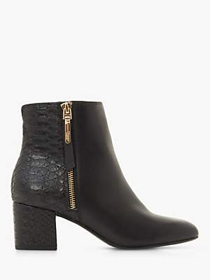 Dune Orlla Side Zip Ankle Boots, Black Leather