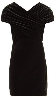 Christopher Kane Gathered Stretch Velvet Mini Dress - Womens - Black