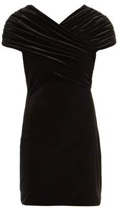 Christopher Kane Gathered Stretch Velvet Mini Dress - Womens - Black