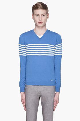 DSquared DSQUARED2 Blue striped v-neck sweater