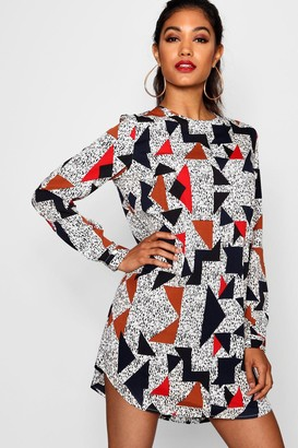 boohoo Geo Print Long Sleeve Shift Dress