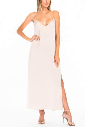 Olivaceous Satin Slip Dress