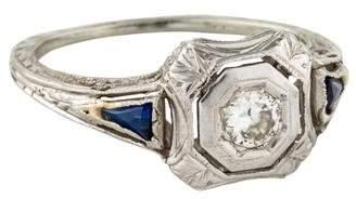 18K Diamond & Synthetic Sapphire Art Deco Ring