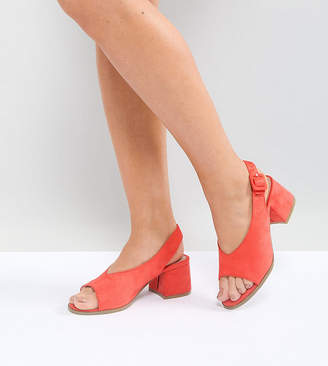 Lost Ink Wide Fit Coral Mid Heeled Sandals