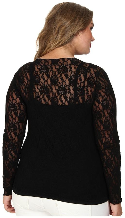 Hanky Panky Plus Size Signature Lace Unlined Long Sleeve Top Women's Underwear
